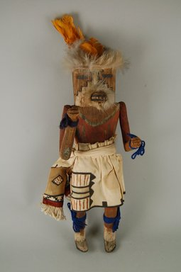 Mau-i (She-we-na (Zuni Pueblo)). <em>Kachina Doll (Mukoko)</em>, late 19th-early 20th century. Wood, pigment, fur, feather, cotton, wool, 4 1/2 x 15in. (11.4 x 38.1cm). Brooklyn Museum, Museum Expedition 1904, Museum Collection Fund, 04.297.5338. Creative Commons-BY (Photo: Brooklyn Museum, CUR.04.297.5338_front.jpg)