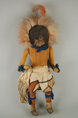 Mau-i (She-we-na (Zuni Pueblo)). <em>Kachina Doll (Muhukwe)</em>, late 19th-early 20th century. Wood, pigment, fur, feather, wool, cotton, 13 x 6 x 2 3/4 in. (33 x 15.2 x 7 cm). Brooklyn Museum, Museum Expedition 1904, Museum Collection Fund, 04.297.5340. Creative Commons-BY (Photo: Brooklyn Museum, CUR.04.297.5340_front.jpg)