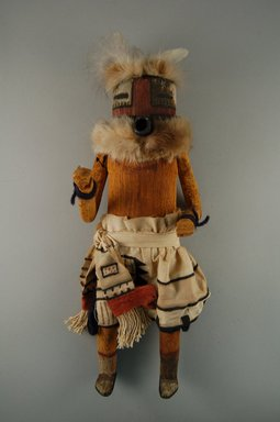 Mau-i (She-we-na (Zuni Pueblo)). <em>Kachina Doll (Kjanilona)</em>, late 19th-early 20th century. Wood, fur, cotton, pigment, feathers, 13 3/4 x 4 15/16 x 3 7/8in. (35 x 12.5 x 9.8cm). Brooklyn Museum, Museum Expedition 1904, Museum Collection Fund, 04.297.5342. Creative Commons-BY (Photo: Brooklyn Museum, CUR.04.297.5342_front.jpg)