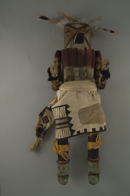 Mau-i (She-we-na (Zuni Pueblo)). <em>Kachina Doll (Atya)</em>, late 19th-early 20th century. Wood, feathers, hide Brooklyn Museum, Museum Expedition 1904, Museum Collection Fund, 04.297.5343. Creative Commons-BY (Photo: Brooklyn Museum, CUR.04.297.5343_front.jpg)