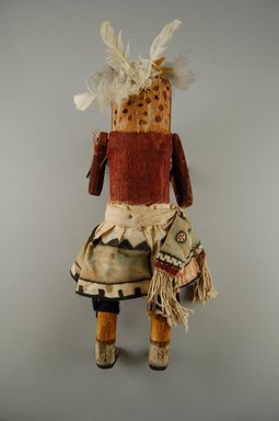 Mau-i (She-we-na (Zuni Pueblo)). <em>Kachina Doll (Hecheleh)</em>, late 19th-early 20th century. Wood, pigment, cotton, 12 3/16 x 4 7/16 x 3 1/16in. (31 x 11.2 x 7.8cm). Brooklyn Museum, Museum Expedition 1904, Museum Collection Fund, 04.297.5344. Creative Commons-BY (Photo: Brooklyn Museum, CUR.04.297.5344_back.jpg)