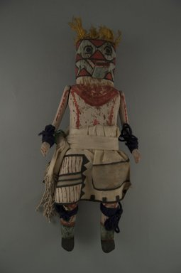 Mau-i (She-we-na (Zuni Pueblo)). <em>Kachina Doll (Homa Kjahiya)</em>, late 19th-early 20th century. Wood, pigment, feathers, yarn, cotton, hide, (32.0 x 14.4 x 9.0 cm). Brooklyn Museum, Museum Expedition 1904, Museum Collection Fund, 04.297.5349. Creative Commons-BY (Photo: Brooklyn Museum, CUR.04.297.5349_front.jpg)