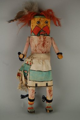 Mau-i (She-we-na (Zuni Pueblo)). <em>Kachina Doll (Tiya Shiloh)</em>, late 19th-early 20th century. Wood, feathers, pigment, cotton,dyed horse hair, wool, 13 3/4 x 6 x 2 13/16in. (35 x 15.2 x 7.2cm). Brooklyn Museum, Museum Expedition 1904, Museum Collection Fund, 04.297.5358. Creative Commons-BY (Photo: Brooklyn Museum, CUR.04.297.5358_front.jpg)