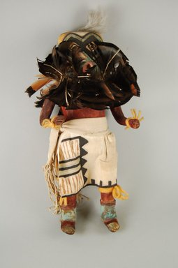 Mau-i (She-we-na (Zuni Pueblo)). <em>Kachina Doll (Showaktona)</em>, late 19th early 20th century. Wood, feathers,pigment, leather, wool, cotton, 13 5/8 x 6 x 3 5/8 in. (34.6 x 15.2 x 9.2 cm). Brooklyn Museum, Museum Expedition 1904, Museum Collection Fund, 04.297.5361. Creative Commons-BY (Photo: Brooklyn Museum, CUR.04.297.5361_front.jpg)
