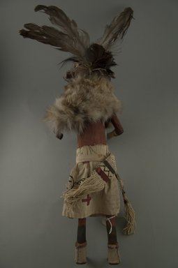 Mau-i (She-we-na (Zuni Pueblo)). <em>Kachina Doll (Zamalahaktoh)</em>, late 19th-early 20th century. Wood, fur, pigment, feathers, hide, 15 3/4 x 2 1/2 in. (40 x 6.4 cm). Brooklyn Museum, Museum Expedition 1904, Museum Collection Fund, 04.297.5364. Creative Commons-BY (Photo: Brooklyn Museum, CUR.04.297.5364_back.jpg)