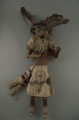Mau-i (She-we-na (Zuni Pueblo)). <em>Kachina Doll (Zamalahaktoh)</em>, late 19th-early 20th century. Wood, fur, pigment, feathers, hide, 15 3/4 x 2 1/2 in. (40 x 6.4 cm). Brooklyn Museum, Museum Expedition 1904, Museum Collection Fund, 04.297.5364. Creative Commons-BY (Photo: Brooklyn Museum, CUR.04.297.5364_front.jpg)