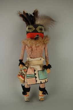 Mau-i (She-we-na (Zuni Pueblo)). <em>Kachina Doll (Lakiakwe)</em>, late 19th-early 20th century. Wood, pigment, cotton, fur, feathers, 13 1/4 x 5 1/4 x 3 3/4 in. (33.7 x 13.3 x 9.5 cm). Brooklyn Museum, Museum Expedition 1904, Museum Collection Fund, 04.297.5367. Creative Commons-BY (Photo: Brooklyn Museum, CUR.04.297.5367_front.jpg)