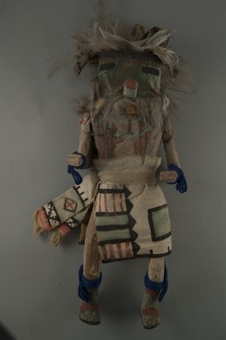 Mau-i (She-we-na (Zuni Pueblo)). <em>Kachina Doll (Chualuthla)</em>, late 19th-early 20th century. Wood, feathers, fur, yarn, cotton, (37.0 x 12.3 x 8.7 cm). Brooklyn Museum, Museum Expedition 1904, Museum Collection Fund, 04.297.5372. Creative Commons-BY (Photo: Brooklyn Museum, CUR.04.297.5372_front.jpg)