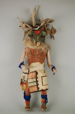 Mau-i (She-we-na (Zuni Pueblo)). <em>Kachina Doll (Wamowa)</em>, late 19th-early 20th century. Wood, pigment, feather, yarn, cotton, fur, hide, 5 3/8 x 3 1/16 x 12 9/16in. (13.7 x 7.8 x 31.9cm). Brooklyn Museum, Museum Expedition 1904, Museum Collection Fund, 04.297.5374. Creative Commons-BY (Photo: Brooklyn Museum, CUR.04.297.5374_front.jpg)