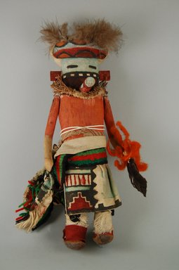 Mau-i (She-we-na (Zuni Pueblo)). <em>Kachina Doll (Ekohkuanona)</em>, late 19th-early 20th century. Wood, feather, hide, wool, string,  cotton, pine twigs, 11 7/16 x 4 15/16 x 3 7/8in. (29 x 12.6 x 9.8cm). Brooklyn Museum, Museum Expedition 1904, Museum Collection Fund, 04.297.5378. Creative Commons-BY (Photo: Brooklyn Museum, CUR.04.297.5378_front.jpg)