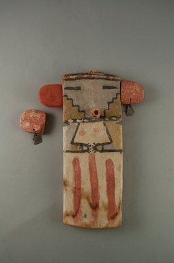 Hopi Pueblo. <em>Kachina Doll</em>, late 19th century. Wood, pigment, tin, 8 1/4 x 6 x 5/8 in. (21 x 15.2 x 1.6 cm). Brooklyn Museum, Museum Expedition 1904, Museum Collection Fund, 04.297.5529. Creative Commons-BY (Photo: Brooklyn Museum, CUR.04.297.5529_front.jpg)