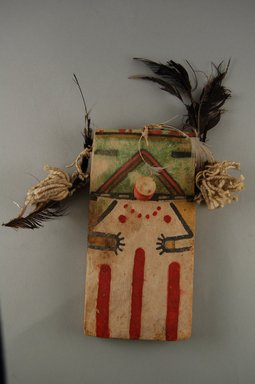 Hopi Pueblo. <em>Kachina Doll (Koa)</em>, late 19th century. Wood, pigment, string, feathers, 3 3/4 x 1 7/8 x 7 1/2in. (9.6 x 4.7 x 19cm). Brooklyn Museum, Museum Expedition 1904, Museum Collection Fund, 04.297.5532. Creative Commons-BY (Photo: Brooklyn Museum, CUR.04.297.5532_front.jpg)