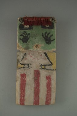 Hopi Pueblo. <em>Kachina Doll (Hon [Bear])</em>, late 19th century. Wood, pigment, fiber, feathers, string, (8.5 x 2.2 x 19 cm). Brooklyn Museum, Museum Expedition 1904, Museum Collection Fund, 04.297.5545. Creative Commons-BY (Photo: Brooklyn Museum, CUR.04.297.5545_front.jpg)