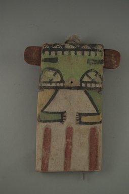 Hopi Pueblo. <em>Kachina Doll (Shalako)</em>, late 19th century. Wood, pigment, string, feather, 5 9/16 x 13/16 x 7 3/8in. (14.2 x 2 x 18.7cm). Brooklyn Museum, Museum Expedition 1904, Museum Collection Fund, 04.297.5546. Creative Commons-BY (Photo: Brooklyn Museum, CUR.04.297.5546_front.jpg)