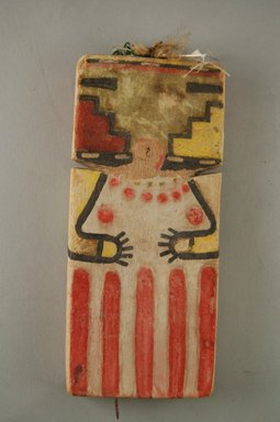 Hopi Pueblo. <em>Kachina Doll</em>, late 19th century. Wood, pigment, string, feather, iron nail, 3 x 11/16 x 2 7/8in. (7.6 x 1.8 x 7.3cm). Brooklyn Museum, Museum Expedition 1904, Museum Collection Fund, 04.297.5549. Creative Commons-BY (Photo: Brooklyn Museum, CUR.04.297.5549_front.jpg)