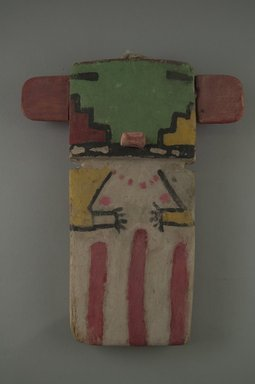Hopi Pueblo. <em>Kachina Doll (Omau [Cloud])</em>, late 19th century. Wood, pigment, 8 1/4 x 3 1/2 x 1/2 in. (21 x 8.9 x 1.3 cm). Brooklyn Museum, Museum Expedition 1904, Museum Collection Fund, 04.297.5550. Creative Commons-BY (Photo: Brooklyn Museum, CUR.04.297.5550_front.jpg)