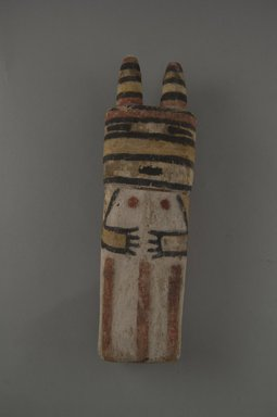 Hopi Pueblo. <em>Kachina Doll (Tatangaya)</em>, late 19th century. Wood, pigment, string, cotton, 2 15/16 x 2 x 7 13/16in. (7.4 x 5.1 x 19.9cm). Brooklyn Museum, Museum Expedition 1904, Museum Collection Fund, 04.297.5554. Creative Commons-BY (Photo: , CUR.04.297.5554_front.jpg)