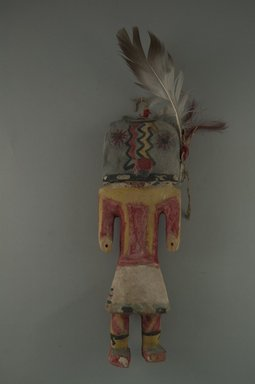 Hopi Pueblo. <em>Kachina Doll (Hoho?)</em>, late 19th century. Wood, feathers, wool, string, pigment, Without feathers: 2 15/16 x 2 5/16 x 8 9/16in. (7.4 x 5.8 x 21.7cm). Brooklyn Museum, Museum Expedition 1904, Museum Collection Fund, 04.297.5561. Creative Commons-BY (Photo: Brooklyn Museum, CUR.04.297.5561_front.jpg)