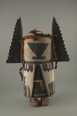 Hopi Pueblo. <em>Kachina Doll (Angwusnasomtaqa)</em>, late 19th century. Wood, pigment, wool yarn, cotton cord, feathers, 11 13/16 in. (30 cm). Brooklyn Museum, Museum Expedition 1904, Museum Collection Fund, 04.297.5563. Creative Commons-BY (Photo: Brooklyn Museum, CUR.04.297.5563_front.jpg)