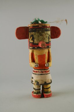 Hopi Pueblo. <em>Kachina Doll (Sikahchantaka)</em>, late 19th century. Wood, pigment, string, yarn, feather, 7 7/16 × 4 5/8 × 2 9/16 in. (18.9 × 11.7 × 6.5 cm). Brooklyn Museum, Museum Expedition 1904, Museum Collection Fund, 04.297.5569. Creative Commons-BY (Photo: Brooklyn Museum, CUR.04.297.5569_front.jpg)