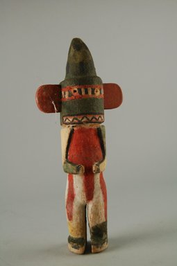 Hopi Pueblo. <em>Kachina Doll (Kwau Agave)</em>, late 19th century. Wood, pigment, feather, 3 1/16 x 1 1/2 x 7 1/2in. (7.8 x 3.8 x 19cm). Brooklyn Museum, Museum Expedition 1904, Museum Collection Fund, 04.297.5571. Creative Commons-BY (Photo: Brooklyn Museum, CUR.04.297.5571_front.jpg)