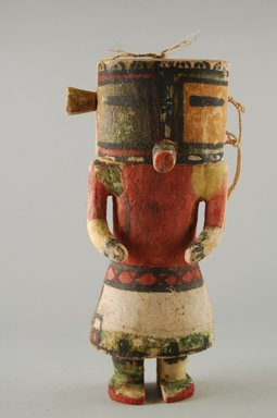 Hopi Pueblo. <em>Kachina Doll (Maolo)</em>, late 19th century. Feathers, pigment, wood, string, 3 13/16 x 3 1/8 x 8 7/16in. (9.7 x 8 x 21.5cm). Brooklyn Museum, Museum Expedition 1904, Museum Collection Fund, 04.297.5572. Creative Commons-BY (Photo: Brooklyn Museum, CUR.04.297.5572_front.jpg)