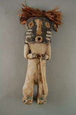 Hopi Pueblo. <em>Kachina  Doll (Kwikwilyaka, Lapukti)</em>, late 19th century. Wood, pigment, string, plant fiber, 8 x 2 in. (20.3 x 5.1 cm). Brooklyn Museum, Museum Expedition 1904, Museum Collection Fund, 04.297.5573. Creative Commons-BY (Photo: Brooklyn Museum, CUR.04.297.5573_front.jpg)