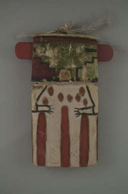 Hopi Pueblo. <em>Kachina Doll (Omau [Cloud])</em>, late 19th century. Wood, paint, feathers, string, 5 3/8 x 1 3/16 x 7 1/4in. (13.7 x 3 x 18.4cm). Brooklyn Museum, Museum Expedition 1904, Museum Collection Fund, 04.297.5579. Creative Commons-BY (Photo: Brooklyn Museum, CUR.04.297.5579_front.jpg)