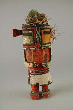 Hopi Pueblo. <em>Kachina Doll (Maola)</em>, late 19th century. Wood, pigment, feathers, string, 3 3/4 x 2 3/4 x 7 5/8in. (9.5 x 7 x 19.4cm). Brooklyn Museum, Museum Expedition 1904, Museum Collection Fund, 04.297.5582. Creative Commons-BY (Photo: Brooklyn Museum, CUR.04.297.5582_front.jpg)