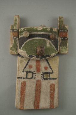Hopi Pueblo. <em>Kachina Doll (Holi)</em>, late 19th century. Wood, pigment, string, feather, 6 5/16 × 4 5/8 × 1 13/16 in. (16 × 11.7 × 4.6 cm). Brooklyn Museum, Museum Expedition 1904, Museum Collection Fund, 04.297.5587. Creative Commons-BY (Photo: Brooklyn Museum, CUR.04.297.5587_front.jpg)