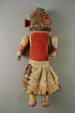 Hopi Pueblo. <em>Kachina Doll (Maalo)</em>, late 19th century. Wood, pigment, cloth, string, feather shaft, 2 15/16 x 1 7/8 x 10 3/4in. (7.4 x 4.8 x 27.3cm). Brooklyn Museum, Museum Expedition 1904, Museum Collection Fund, 04.297.5588. Creative Commons-BY (Photo: Brooklyn Museum, CUR.04.297.5588_front.jpg)