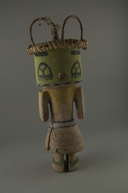 Hopi Pueblo. <em>Kachina Doll</em>, late 19th century. Wood, pigment, fibers, cotton, string, 4 7/16 x 3 3/4 x 11 11/16in. (11.2 x 9.5 x 29.7cm). Brooklyn Museum, Museum Expedition 1904, Museum Collection Fund, 04.297.5589. Creative Commons-BY (Photo: Brooklyn Museum, CUR.04.297.5589_front.jpg)