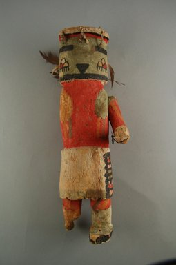 Hopi Pueblo. <em>Kachina Doll (Alosaka?)</em>, late 19th century. Wood, pigment, feathers, string, 3 15/16 x 3 11/16 x 11 7/8in. (10 x 9.3 x 30.2cm). Brooklyn Museum, Museum Expedition 1904, Museum Collection Fund, 04.297.5590. Creative Commons-BY (Photo: Brooklyn Museum, CUR.04.297.5590_front.jpg)