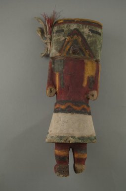 Hopi Pueblo. <em>Kachina Doll (Koa)</em>, late 19th century. Wood, pigment, string, feathers, 2 7/8 x 2 7/16 x 7 15/16in. (7.3 x 6.2 x 20.2cm). Brooklyn Museum, Museum Expedition 1904, Museum Collection Fund, 04.297.5591. Creative Commons-BY (Photo: Brooklyn Museum, CUR.04.297.5591_front.jpg)