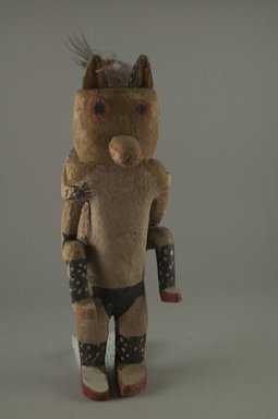 Hopi Pueblo. <em>Kachina Doll (Kwawuu [Wolf])</em>, late 19th century. Wood, pigment, cotton, feather, 9 3/8 × 3 1/4 × 4 3/8 in. (23.8 × 8.3 × 11.1 cm). Brooklyn Museum, Museum Expedition 1904, Museum Collection Fund, 04.297.5596. Creative Commons-BY (Photo: Brooklyn Museum, CUR.04.297.5596_front.jpg)
