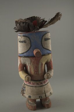 Hopi Pueblo. <em>Kachina Doll</em>, late 19th century. Wood, pigment, feathers, cloth, 8 1/4 x 3 1/2 x 3 1/2 in. (21 x 8.9 x 8.9 cm). Brooklyn Museum, Museum Expedition 1904, Museum Collection Fund, 04.297.5597. Creative Commons-BY (Photo: Brooklyn Museum, CUR.04.297.5597_front.jpg)