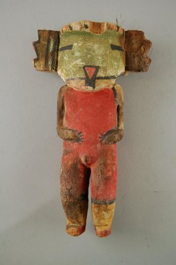 Hopi Pueblo. <em>Kachina Doll (Koyal)</em>, late 19th century. Wood, pigment, yarn, string, feather, 4 1/16 x 1 7/8 x 7in. (10.3 x 4.8 x 17.8cm). Brooklyn Museum, Museum Expedition 1904, Museum Collection Fund, 04.297.5601. Creative Commons-BY (Photo: Brooklyn Museum, CUR.04.297.5601_front.jpg)