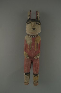Hopi Pueblo. <em>Kachina Doll (Alosaka)</em>, late 19th century. Wood, pigment, copper wire, 3 3/4 x 1 3/4 x 1 1/16 in. (9.5 x 4.4 x 2.7 cm). Brooklyn Museum, Museum Expedition 1904, Museum Collection Fund, 04.297.5605. Creative Commons-BY (Photo: Brooklyn Museum, CUR.04.297.5605_front.jpg)