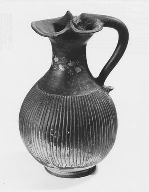 Italiote. <em>Oinochoe</em>, late 4th-3rd century B.C.E. Clay, slip, 9 15/16 x greatest diam. 5 7/8 in. (25.2 x 14.9 cm). Brooklyn Museum, Purchase gift of Robert B. Woodward and Carll H. de Silver, 04.9. Creative Commons-BY (Photo: Brooklyn Museum, CUR.04.9_NegC_print_bw.jpg)