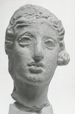 Roman. <em>Female Head</em>. Terracotta Brooklyn Museum, 05.13. Creative Commons-BY (Photo: Brooklyn Museum, CUR.05.13_NegA_print_bw.jpg)