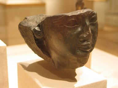 Egyptian. <em>Head of a Kushite Ruler</em>, ca. 670-653 B.C.E. Diorite, 3 3/8 x 2 3/4 x 5 5/8 in. (8.6 x 7 x 14.3 cm). Brooklyn Museum, Charles Edwin Wilbour Fund, 05.316. Creative Commons-BY (Photo: Brooklyn Museum, CUR.05.316_wwg8.jpg)