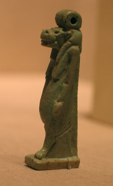<em>Figure of Taweret</em>, ca. 664-525 B.C.E. Faience, 2 1/2 x 1/2 x 13/16 in. (6.4 x 1.2 x 2.1 cm). Brooklyn Museum, Charles Edwin Wilbour Fund, 05.345. Creative Commons-BY (Photo: Brooklyn Museum, CUR.05.345_wwgA-2.jpg)