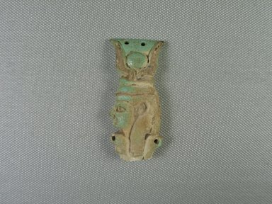 <em>Fragmentary Amulet</em>. Faience, 2 1/2 x 1 1/8 x 3/8 in. (6.4 x 2.9 x 0.9 cm). Brooklyn Museum, Charles Edwin Wilbour Fund, 05.371. Creative Commons-BY (Photo: Brooklyn Museum, CUR.05.371_view1.jpg)