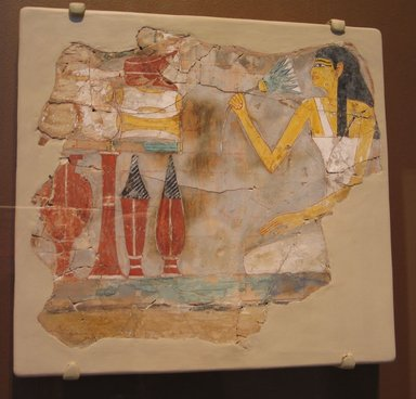 <em>Tomb Painting of a Woman with Offerings</em>, ca. 1539-1425 B.C.E. Limestone, gesso, pigment, 10 1/16 x 11 1/2 x 1/8 in. (25.6 x 29.2 x 0.4 cm). Brooklyn Museum, Charles Edwin Wilbour Fund, 05.390. Creative Commons-BY (Photo: Brooklyn Museum, CUR.05.390_erg2.jpg)