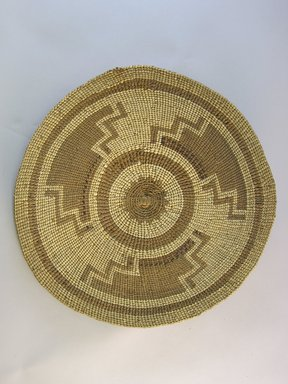Hupa. <em>Basket Tray</em>. Fiber, 1 9/16 × 11 5/8 × 11 3/4 in. (4 × 29.5 × 29.8 cm). Brooklyn Museum, Museum Expedition 1905, Museum Collection Fund, 05.588.7452. Creative Commons-BY (Photo: Brooklyn Museum, CUR.05.588.7452_top.jpg)
