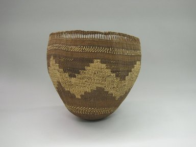 Yurok. <em>Carrying Basket for Acorns</em>. Hazel fibers, 11 1/2 × 12 13/16 × 12 1/2 in. (29.2 × 32.5 × 31.8 cm). Brooklyn Museum, Museum Expedition 1905, Museum Collection Fund, 05.588.7614. Creative Commons-BY (Photo: Brooklyn Museum, CUR.05.588.7614.jpg)