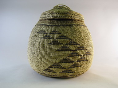 Hupa. <em>House Basket with Lid</em>. Fiber, Including lid: 11 1/2 × 10 1/2 × 10 1/4 in. (29.2 × 26.7 × 26 cm). Brooklyn Museum, By exchange, 05.589.7709a-b. Creative Commons-BY (Photo: Brooklyn Museum, CUR.05.589.7709a-b.jpg)