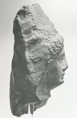 <em>Head of Cybele</em>. Terracotta, 3 3/4 x 1 15/16 in. (9.5 x 5 cm). Brooklyn Museum, 05.9. Creative Commons-BY (Photo: Brooklyn Museum, CUR.05.9_NegB_print_bw.jpg)