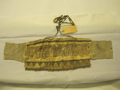 """Hupa. <em>Headdress worn in """"Jump Dance.""""</em> . Woodpecker crest feather, deerskin, wood, cotton thread, 27 9/16 x 8 1/4 in.  (70.0 x 21.0 cm). Brooklyn Museum, Museum Expedition 1906, Museum Collection Fund, 06.331.7926. Creative Commons-BY (Photo: Brooklyn Museum, CUR.06.331.7926.jpg)"""
