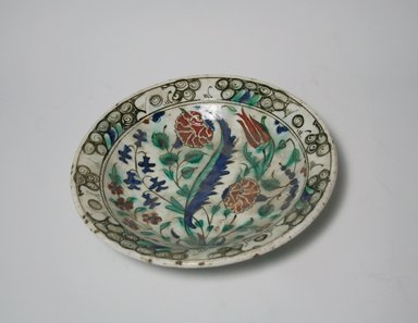 <em>Plate</em>, 17th century. Ceramic, 2 5/16 x 10 1/4 in. (5.8 x 26 cm). Brooklyn Museum, Museum Collection Fund, 06.7. Creative Commons-BY (Photo: Brooklyn Museum, CUR.06.7_top.jpg)